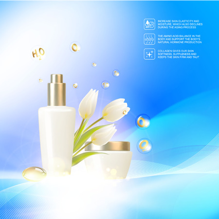 Jar of cream on blue background with shining bio essence bubbles. Moisturizer with Vitamins and Regenerate Cream. Vector illustration.