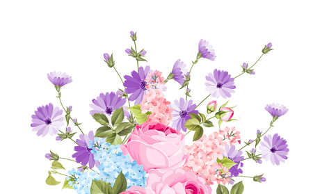 The chicory garland elegant card. A summer decorative bouquet of endive and rose flowers. Small floral garland. Vector illustration. Stock Illustratie