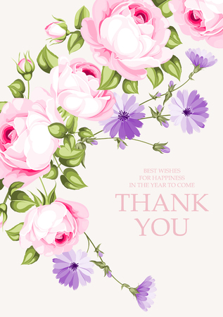 Invitation text card with Thank You sign. Blooming rose garland at the left side of invitation card isolated over white background.