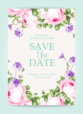 Invitation vertical card. Floral vertical vintage invitation with pink garden blooming flowers.