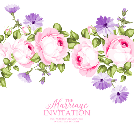 The Marriage invitation with flowers over white paper. Stock Illustratie