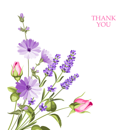 Label with lavender. Bunch of lavender flowers on a white background. Botanical illustration. Stock Illustratie
