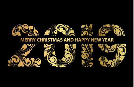 Christmas card with calligraphic text over black background. Merry Christmas and Happy new year 2019 text on greeting card. Vector illustration. Illusztráció