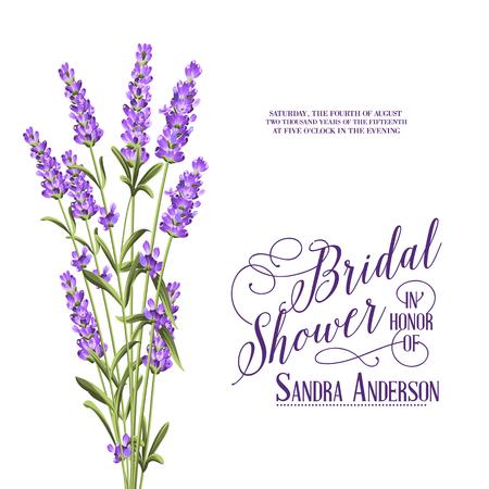 Bridal Shower invitation with flowers over white paper. Vector illustration. Illustration