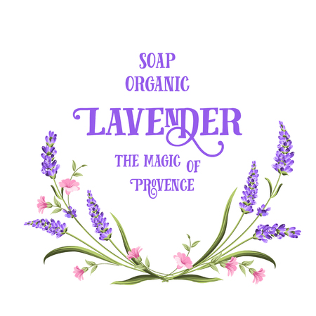 Frame of lavender flowers on a white background. Label of soap package. Label with lavender flowers. Vector illustration. Ilustrace
