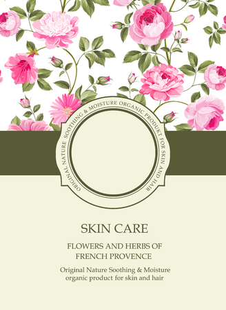 Cover page design template. Book cover with flower texture on background. Wide line of color ribbon with circle badge and empty text place. Vector illustration.