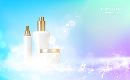 Women care cosmetic in beautiful bottles over blue background. Moisturizer with Vitmins and Regenerate Cream. Vector illustration.