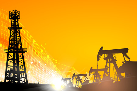 Oil field over sunset. Oil derrick infographic with stages of process oil production. Vector illustration. Illustration