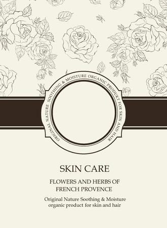 배경에 꽃 빈티지 카드입니다. 꽃 텍스처와 책 표지입니다. 흰색 바탕에 검은 선. 원형 배지와 빈 텍스트 장소가있는 다양한 리본. 벡터 일러스트 레이 션. 스톡 콘텐츠 - 108193656