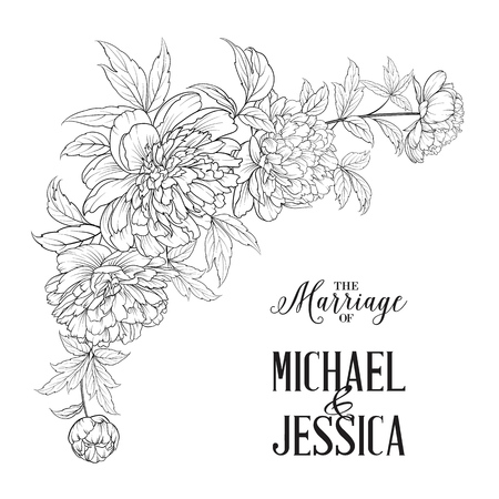 Marriage invitation card. Spring flowers bouquet of peony garland. Wedding card with flowers over white background. Vector illustration.