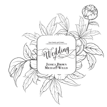 Awesome vintage label of peony flowers. Wedding Card and engagement announcement. Wedding of Michael and Jessica. Vector illustration.