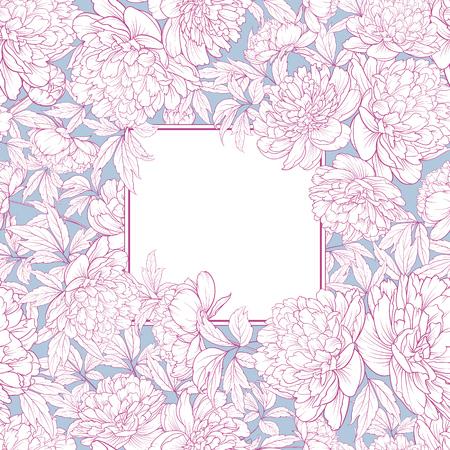 Uitnodigingskaart met bloemen. Blossom-ontwerp voor uw persoonlijke omslag. Bruiloft Peony patroon. Bloemen thema voor boekomslag. Botanische textuurillustratie in stijl van gravure. Vector illustratie.