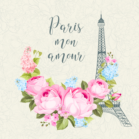 Eiffel tower simbol with spring blooming flowers over floral pattern with sign Paris mon amour. Vector illustration. Illustration