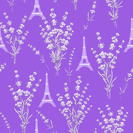Pattern with lavender flowers, leaves and Eiffel tower. Seamless background with summer blooming flowers pattern. Vettoriali