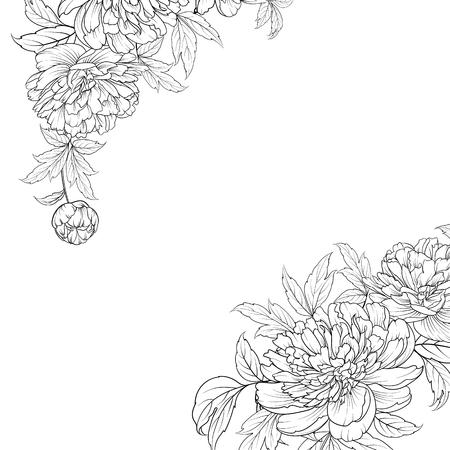 Wiosenny bukiet kwiatów girlandy w stylu konturowym. Etykieta z kwiatami piwonii. Ilustracji wektorowych. Ilustracje wektorowe