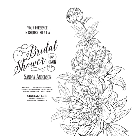 Awesome vintage label. Bridal Shower Card announcement. Line contour of flowers. Vector illustration.  イラスト・ベクター素材