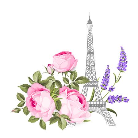 Die Eiffelturmkarte. Eiffelturm simbol mit blühenden Frühlingsblumen über weißem Hintergrund. Vektorillustration. Vektorgrafik