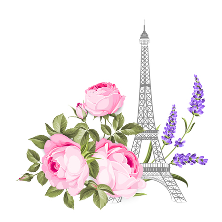 The Eiffel tower card. Eiffel tower simbol with spring blooming flowers over white background. Vector illustration.