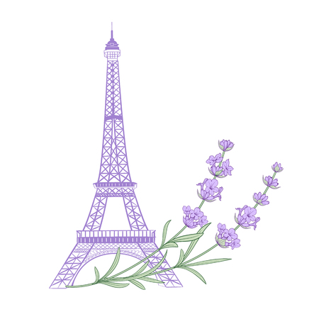 Eiffel tower with lavender flowers isolated over white background. The lavender elegant card. Eiffel tower symbol with spring blooming flowers for wedding invitation. Vector illustration.