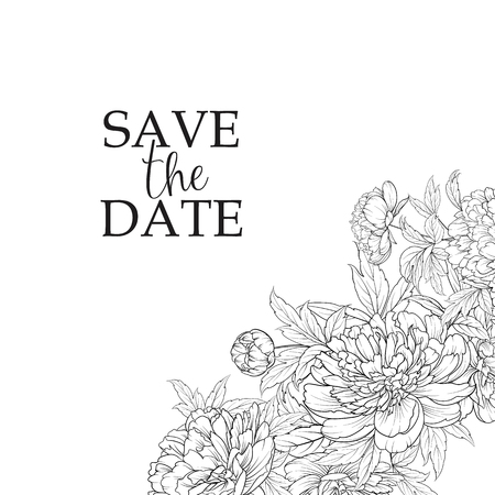 Blooming peonies at the corner of invitation card isolated over white and text place. Congratulation text card with Save the date sign. Vector illustration. Ilustracje wektorowe