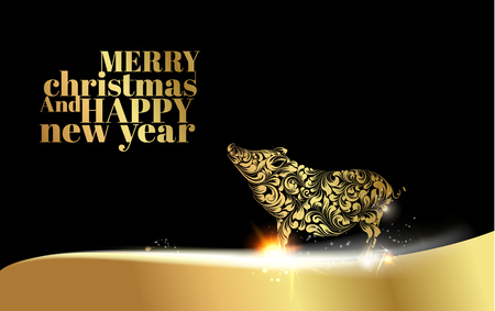 Pig silhouette over golden Christmas card. Christmas invitation card with template text. Vector illustration. Illustration