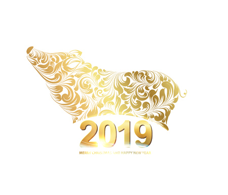 The pig - a new year symbol of 2019. Merry christmas card over white background with golden piglet. Text sign 2019 year. Vector illustration.