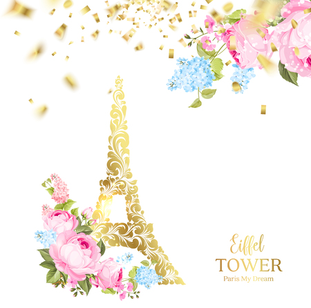 Eiffel tower icon with Golden confetti falls isolated over white background and blooming spring flowers in the bottom. Vector illustration. Ilustração