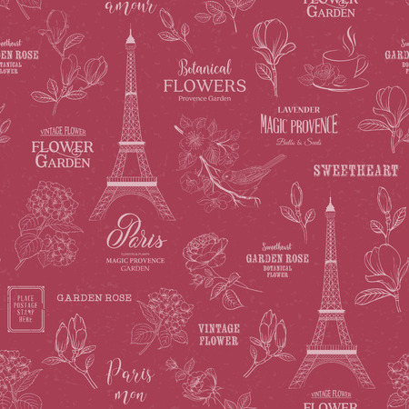 Paris romantic seamless pattern. Spring tour swatch with birds, flowers and eiffel tower. Calligraphic sign of paris. Vector illustration.