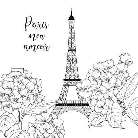 Eiffel tower icon with spring blooming flowers over white background with sign Paris mon amour. Wedding romantic card. Vector illustration.