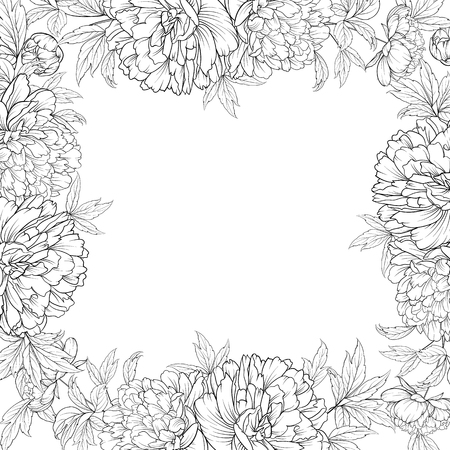 Frame of Peony isolated on white. Spring flowers bouquet of peonies garland. Vector illustration. Ilustracje wektorowe