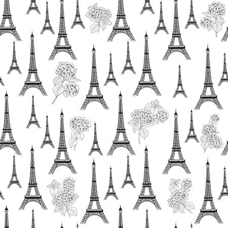 Paris architecture pattern of hydrangea flowers and eiffel tower. Spring tour swatch with eiffel tower. Vector illustration.
