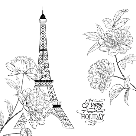 The Happy holidayd card. Wedding invitation card template. Eiffel tower simbol with spring blooming flowers over white with sign Happy holiday. Vector illustration.