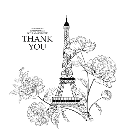 Wedding invitation card template. Eiffel tower simbol with spring blooming flowers over white with sign Thank you. Vector illustration.
