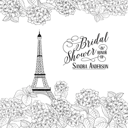 Awesome vintage label. Bridal Shower Card announcement. Line contour of flowers. Vector illustration. Illustration