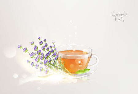 Aroma teacup with lavender on saucer and bokeh light over gray background. Vector illustration. Banque d'images - 109980234