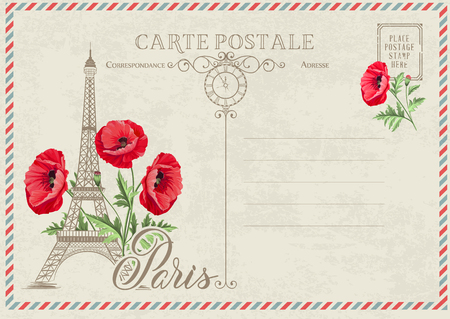 Old blank postcard with post stamps and eiffel tower with spring flowers on the top. Vector illustrtion. Illustration
