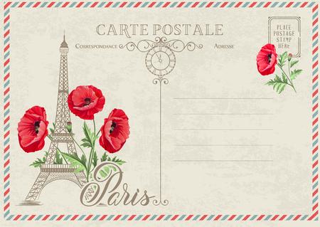 Vecchia cartolina vuota con francobolli e torre eiffel con fiori primaverili in alto. Illustrtion di vettore.