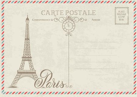 Ancienne carte postale vierge avec timbres-poste et tour eiffel avec des fleurs de printemps sur le dessus. Illustrtion de vecteur.