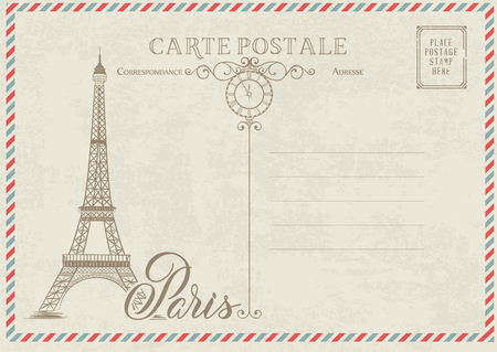 Old blank postcard with post stamps and eiffel tower with spring flowers on the top. Vector illustrtion. Иллюстрация