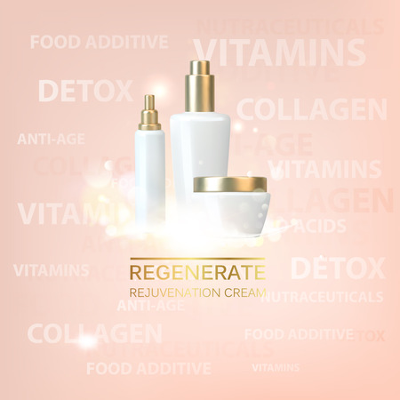 Bottle of cosmetic lotion and jar of cream. Regenerate cream for hand from white bottle over pink background. Vector illustration.