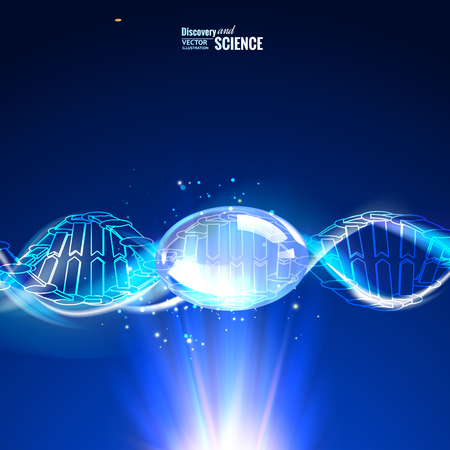 Science concept image of human DNA. Blue light abstraction of digital art. Vector illustration contains transparencies.