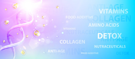 Science illustration of a DNA molecule. Violet chemical banner. Beauty skin care design over blue background. Organic cosmetic and skin care cream. Vector illustration. Banque d'images - 109790437