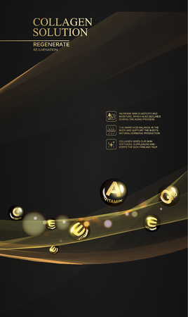 Beautiful abstract golden lights over black background. Regenerate face cream and Vitamin complex concept. Skin care design. Vector illustration.