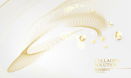 Regenerate face cream and Vitamin complex concept. Shining golden essence droplet. Vitamin E drop in form of sphere. Beauty skin care design over golden backdrop. Vector illustration. Ilustração