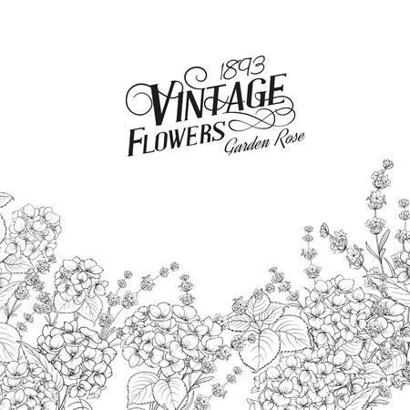 Wedding invitation card with custom sign and flower frame. Lavender frame for provence card. Printable vintage marriage invitation with flowers over white. Vector illustration.