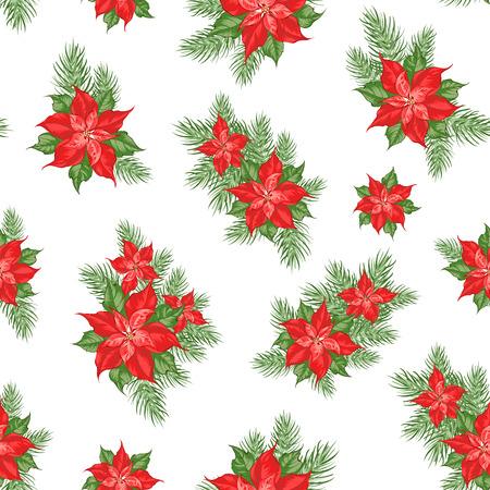 Patrón de flor de nochebuena roja. Fondo de vacaciones sin fisuras con estrella de Navidad. Patrón floral hecho a mano con flor de pascua. Ilustración vectorial.