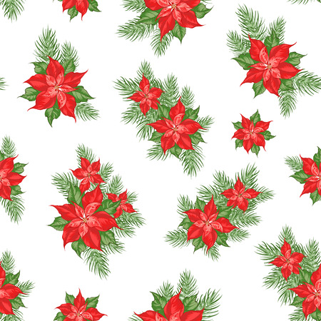 Red poinsettia flower pattern. Seamless holiday background with christmas star. Handmade floral pattern with poinsettia. Vector illustration.
