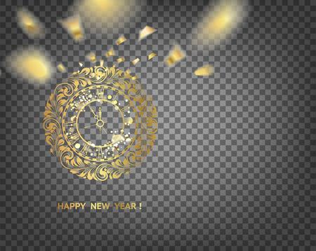 Golden clock - symbol of 2019 year. Golden christmas clock decoration over the transparent Zdjęcie Seryjne - 111457244