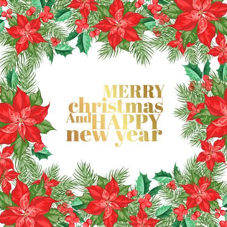 Christmas card with border of poinsettia christmas star. Vector illustration.