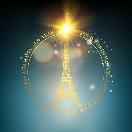 Happy new year card over black background with golden sparks. Eiffel tower with Golden confetti isolated over black background and sign Merry Christmas Paris Eiffel Tower France. Vector illustration.